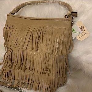 Fringe Vegan Leather beige handbag purse NWT